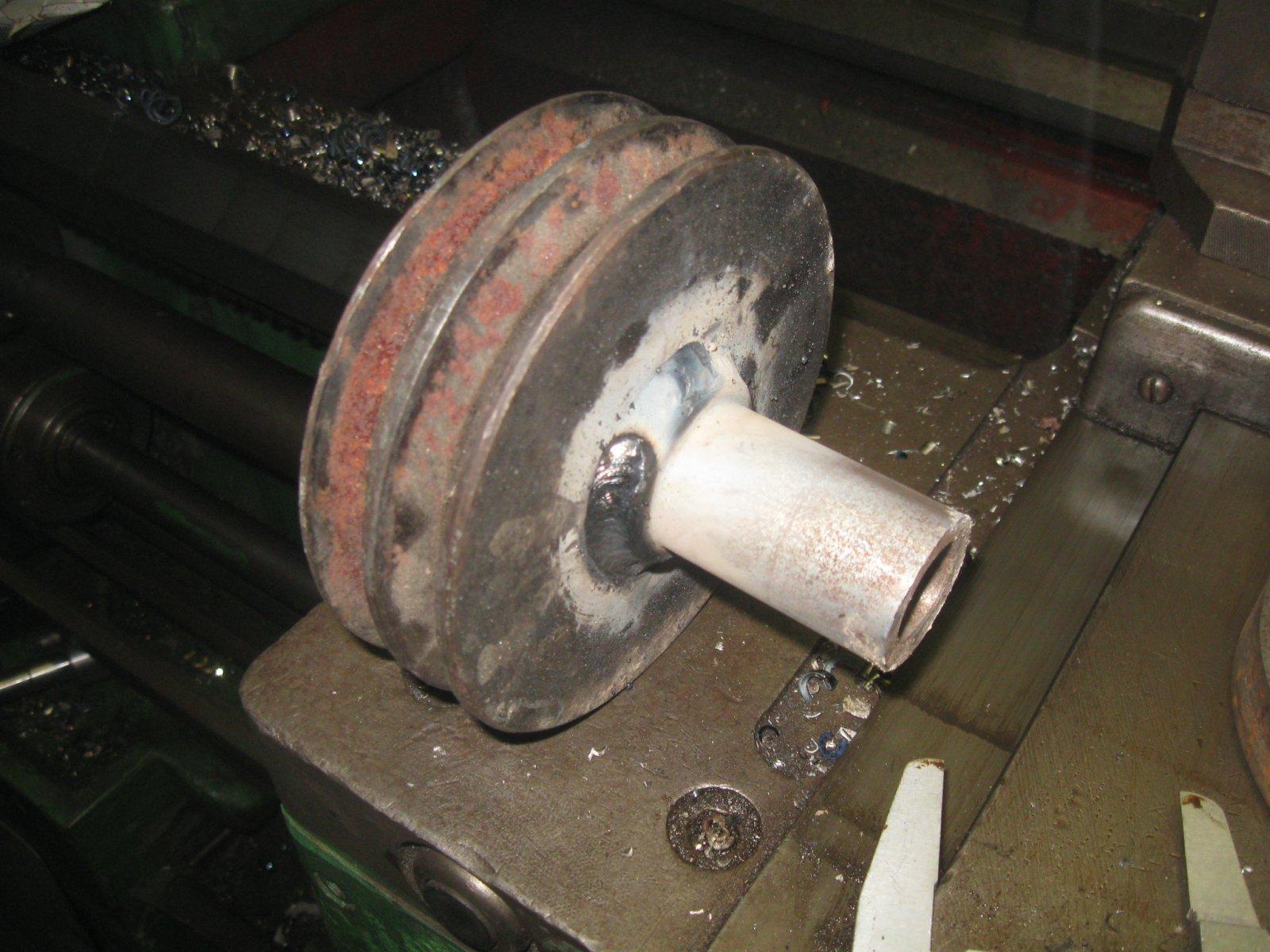 переделка шкива на мотор.